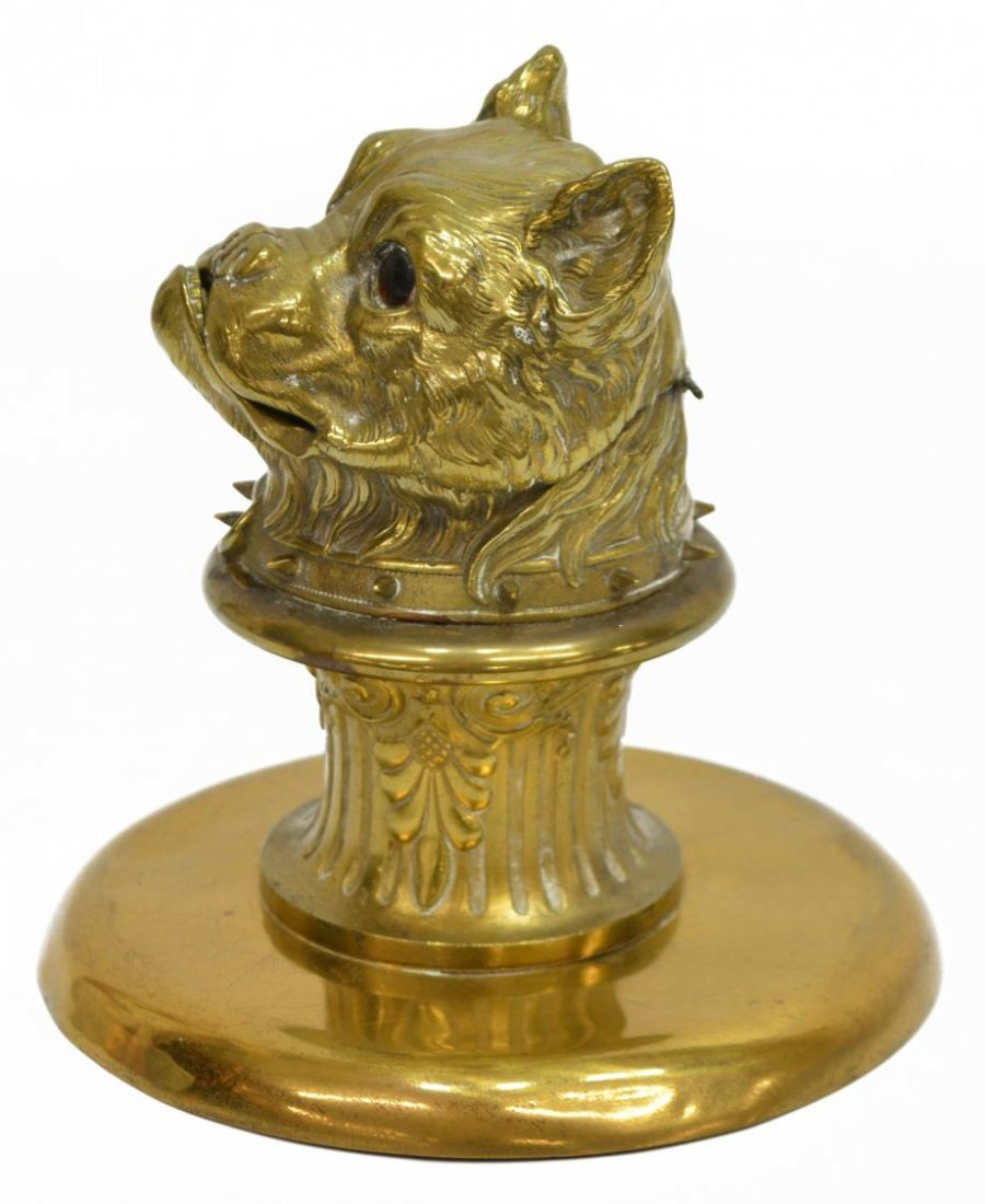 GILT BRASS FIGURAL DOG INKWELL, INSET EYES