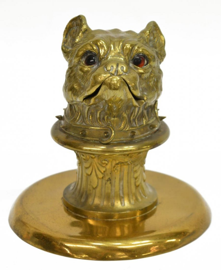 GILT BRASS FIGURAL DOG INKWELL, INSET EYES - 2