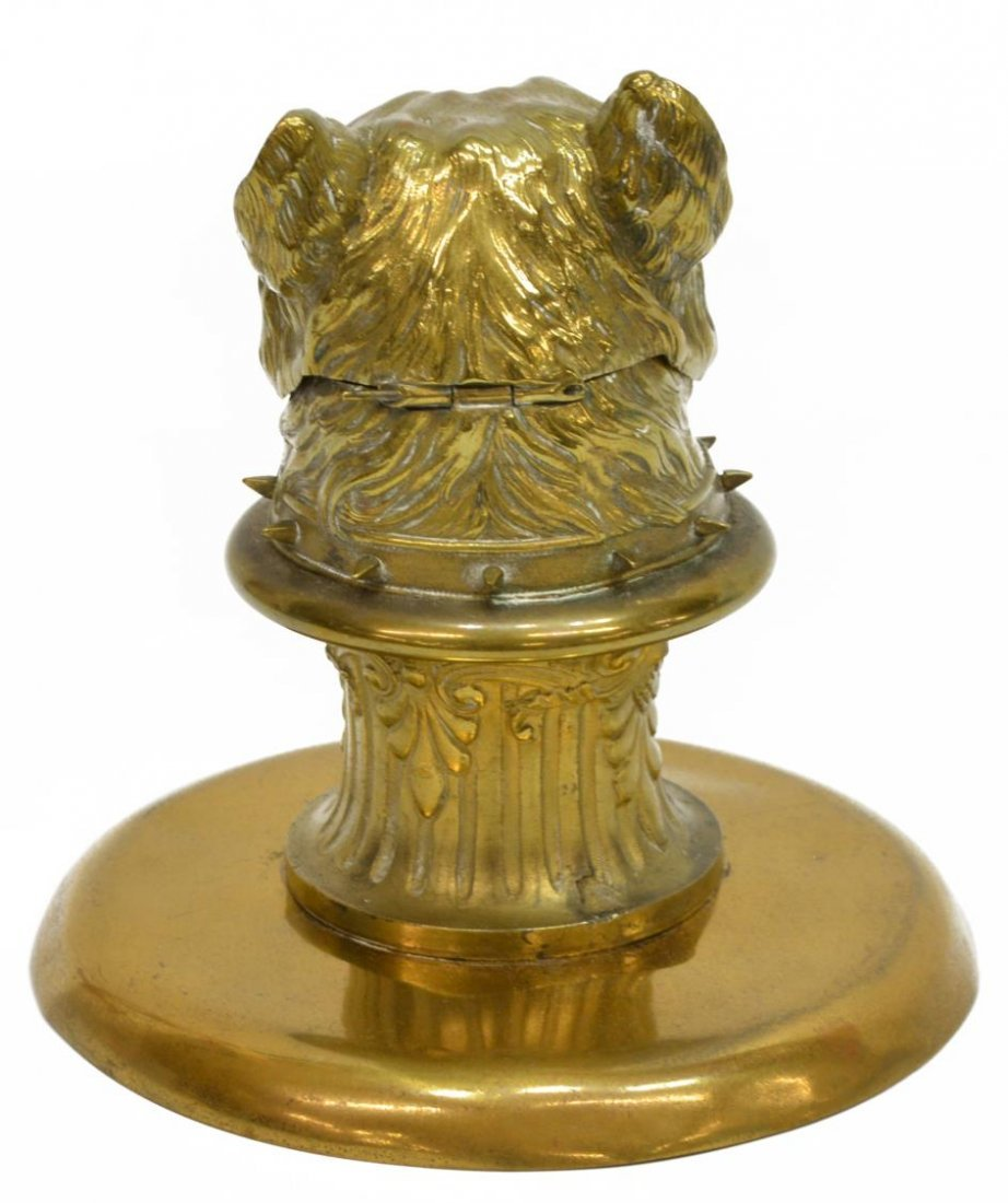 GILT BRASS FIGURAL DOG INKWELL, INSET EYES - 5