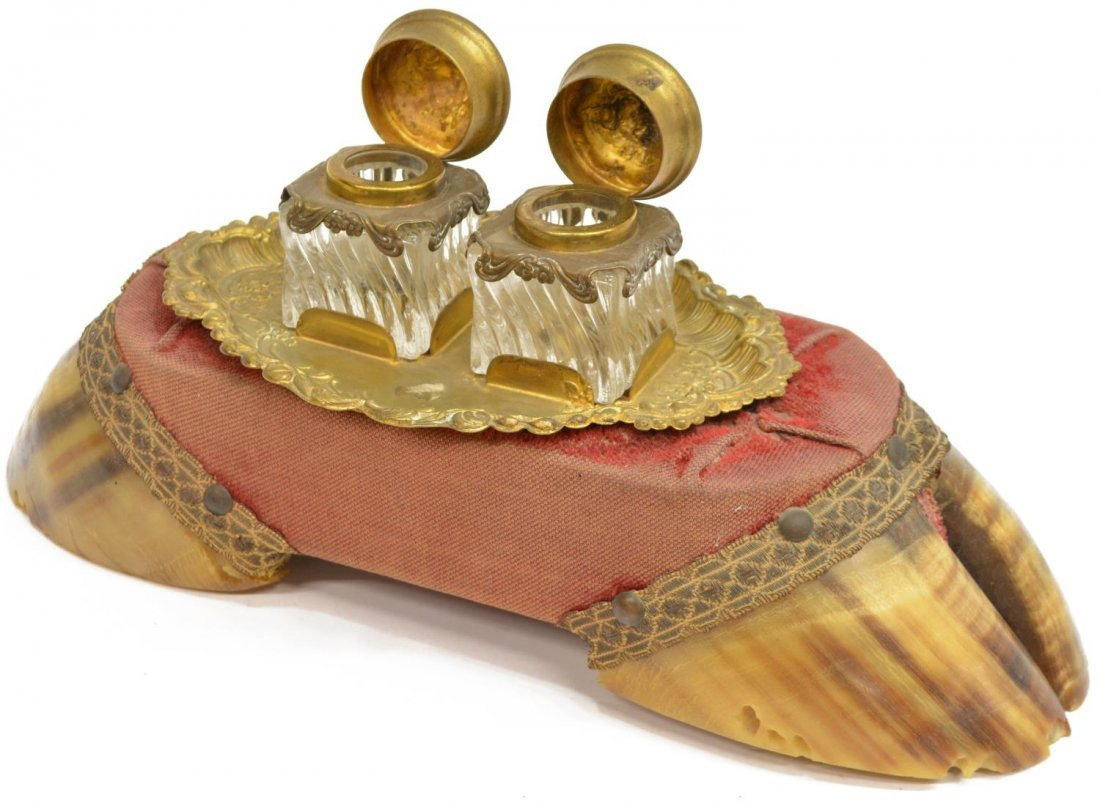 VICTORIAN DUAL CLOVEN HOOF DOUBLE GLASS INKWELL - 2