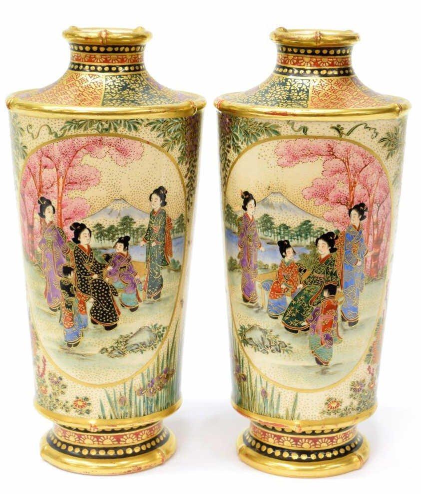 (2) JAPANESE SATSUMA YOSHINAGA PARCEL GILT VASES