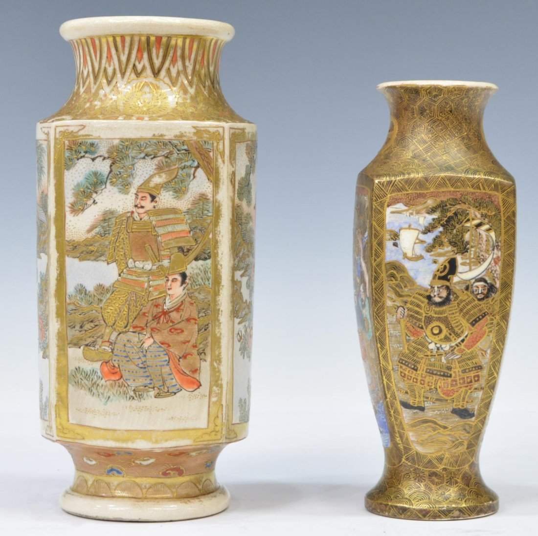 (2) ANTIQUE JAPANESE SATSUMA PARCEL GILT VASES