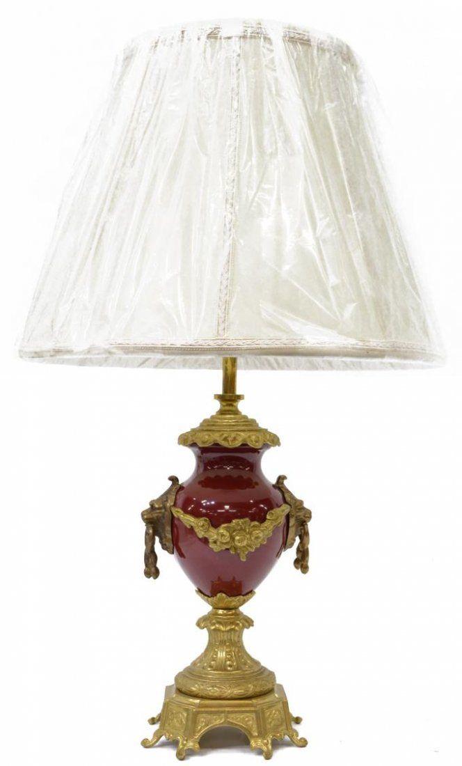 ITALIAN GILT BRASS & RED PORCELAIN TABLE LAMP