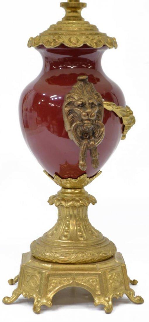 ITALIAN GILT BRASS & RED PORCELAIN TABLE LAMP - 2