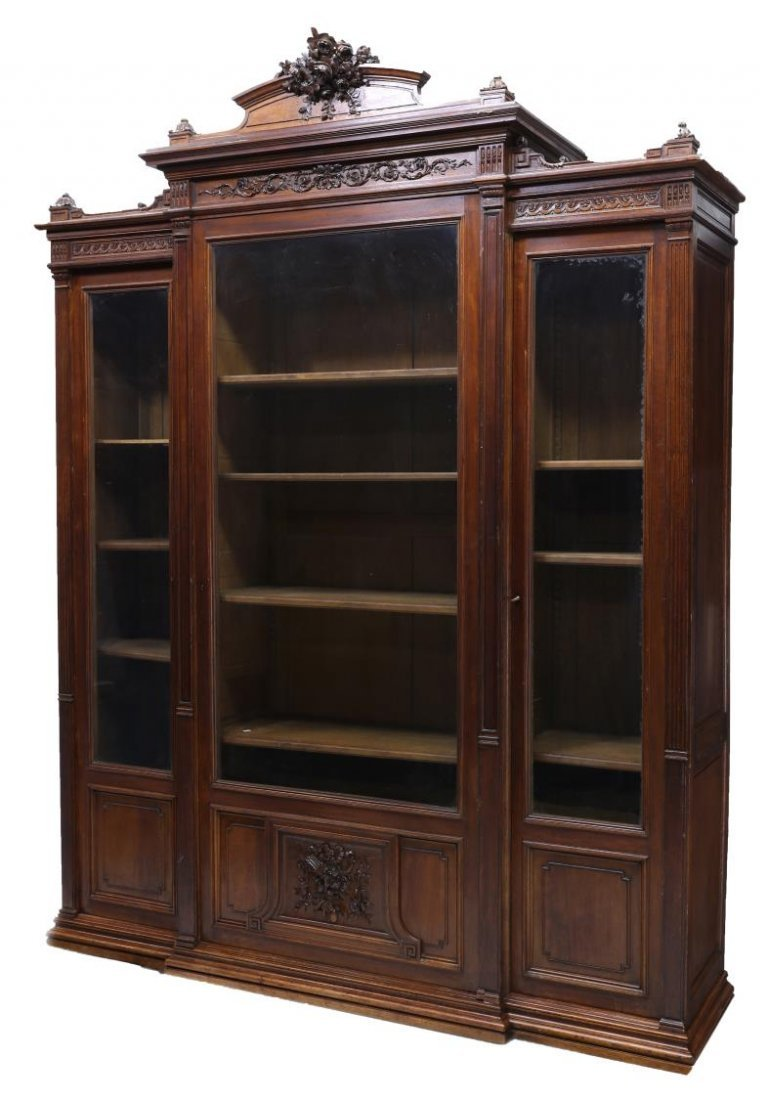 FRENCH HENRI II STYLE CARVED BOOKCASE, 19TH C.