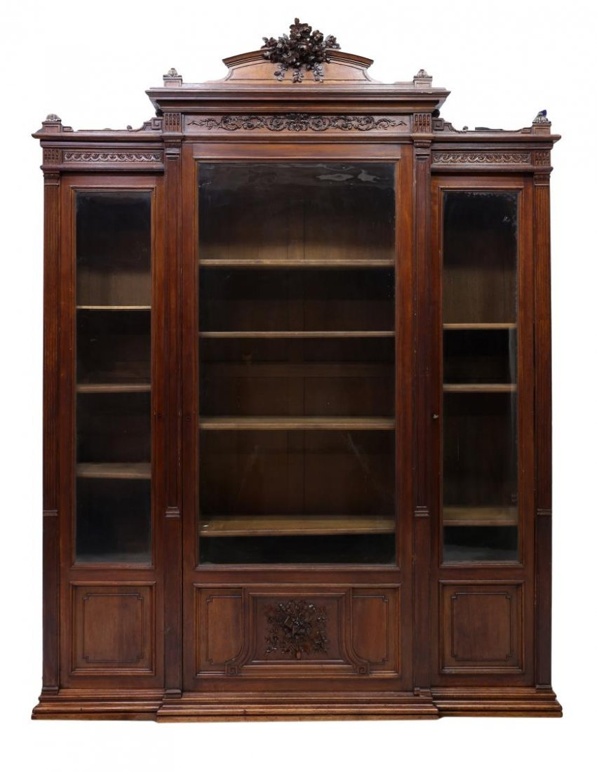 FRENCH HENRI II STYLE CARVED BOOKCASE, 19TH C. - 2