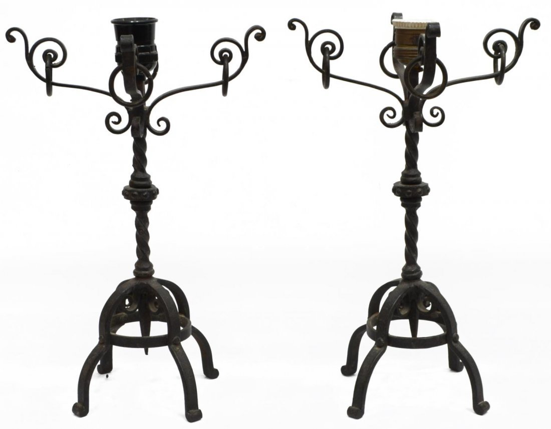 (2) CONTINENTAL BLACK WROUGHT IRON TABLE LAMPS