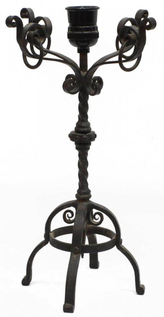 (2) CONTINENTAL BLACK WROUGHT IRON TABLE LAMPS - 2