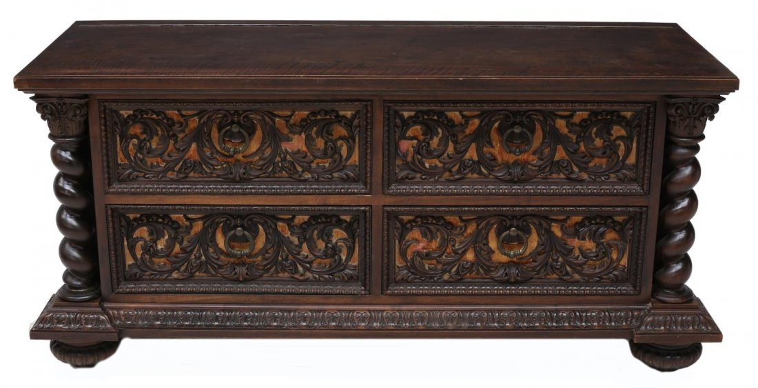 TUSCAN CARVED WALNUT WEDDING CHEST, 19TH CENTURY - 2