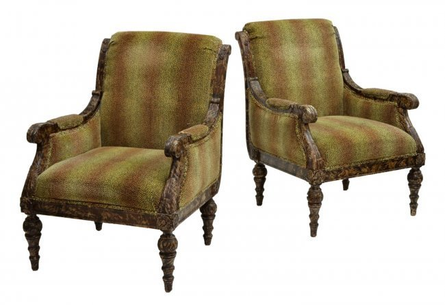 (2) LOUIS XVI STYLE CHAIRS, LEOPARD PATTERN FABRIC