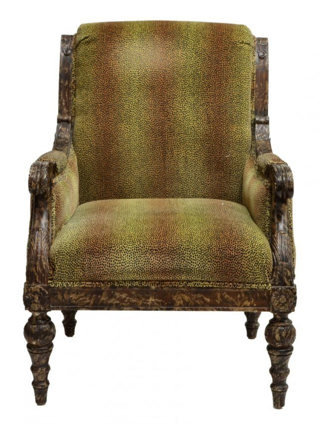 (2) LOUIS XVI STYLE CHAIRS, LEOPARD PATTERN FABRIC - 2