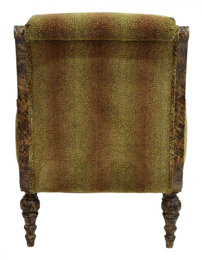 (2) LOUIS XVI STYLE CHAIRS, LEOPARD PATTERN FABRIC - 3