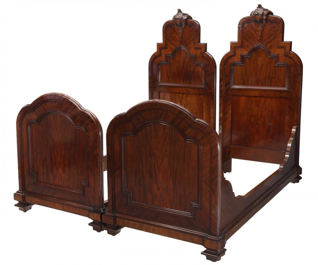 (2) ITALIAN CARVED MAHOGANY SINGLE BEDS, 19TH C.