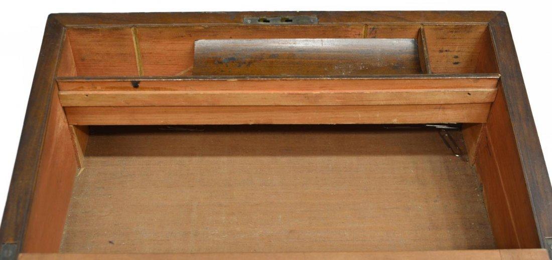 (2) ENGLISH MAHOGANY LAP DESK & OAK LETTER BOX - 10