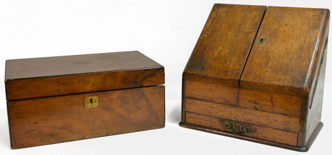 (2) ENGLISH MAHOGANY LAP DESK & OAK LETTER BOX