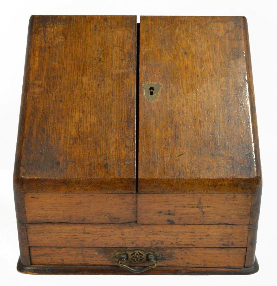 (2) ENGLISH MAHOGANY LAP DESK & OAK LETTER BOX - 2
