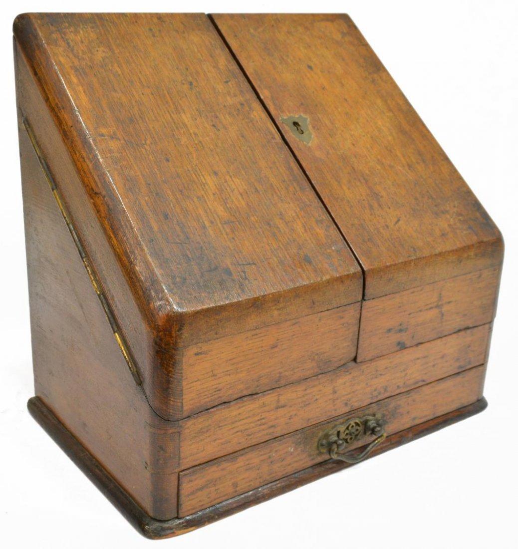 (2) ENGLISH MAHOGANY LAP DESK & OAK LETTER BOX - 3