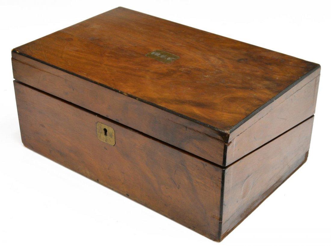 (2) ENGLISH MAHOGANY LAP DESK & OAK LETTER BOX - 6