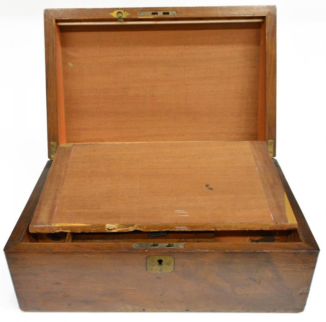 (2) ENGLISH MAHOGANY LAP DESK & OAK LETTER BOX - 8
