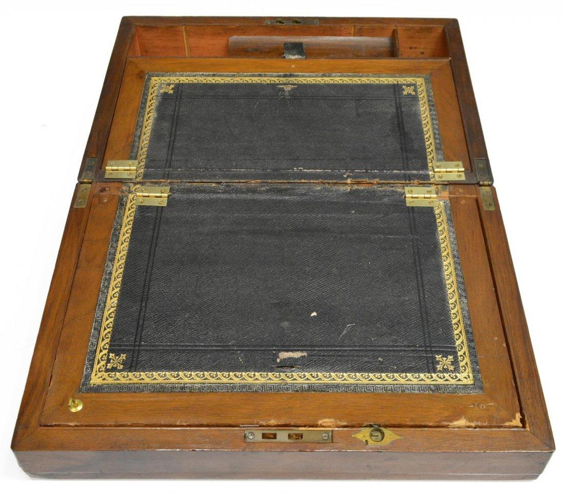 (2) ENGLISH MAHOGANY LAP DESK & OAK LETTER BOX - 9