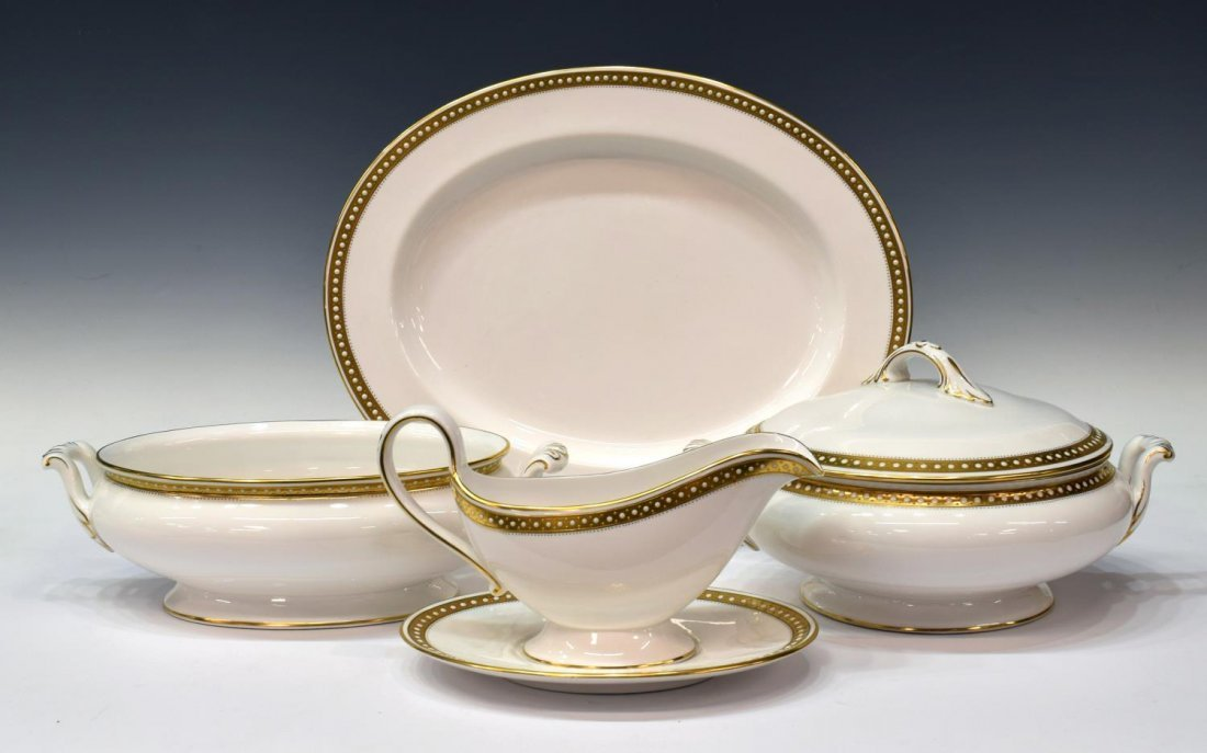 (88)FINE SPODE BONE CHINA GOLD & ENAMEL DINNER SET - 2