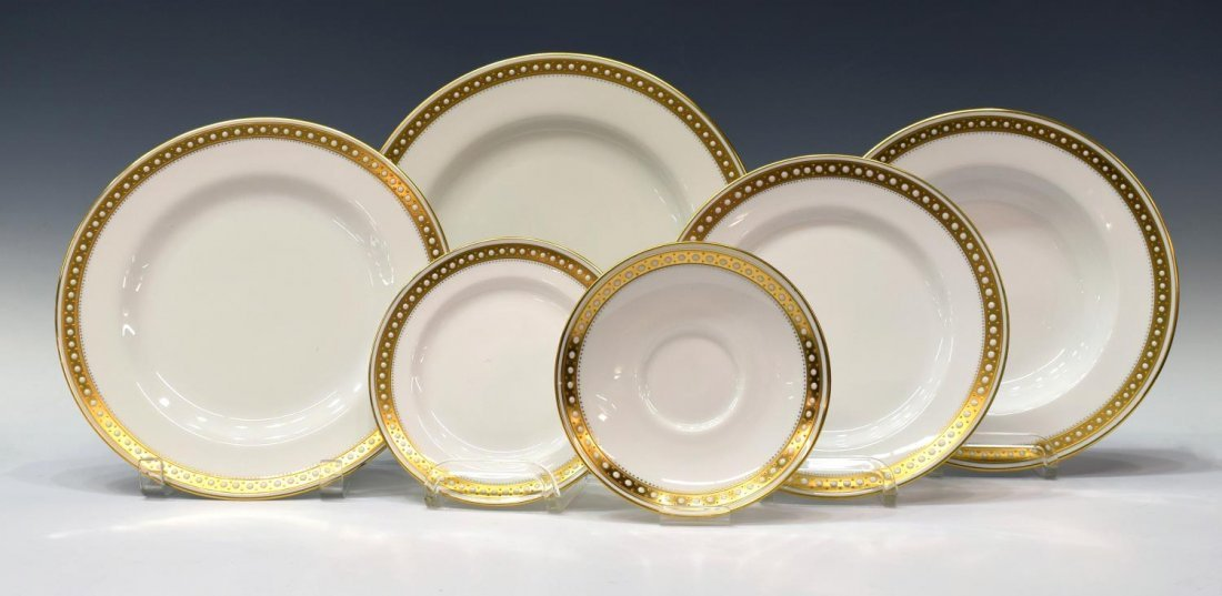 (88)FINE SPODE BONE CHINA GOLD & ENAMEL DINNER SET - 4
