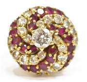 LADIES ESTATE 18KT DIAMOND & RUBY COCKTAIL RING