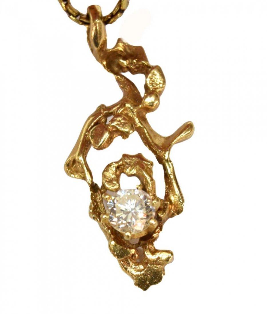 LADIES ESTATE 14KT GOLD DIAMOND NUGGET PENDANT