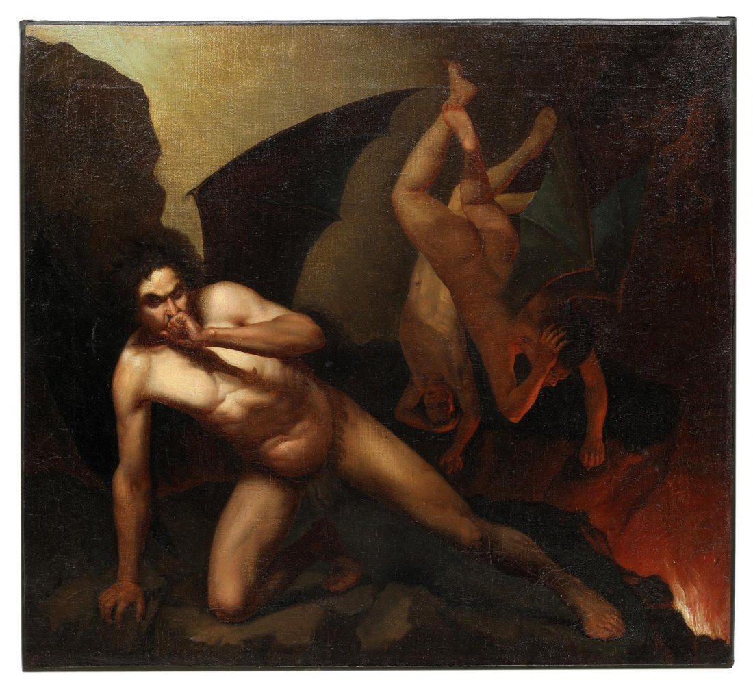 PURGATORY, NEO-CLASSICAL OIL PAINTING