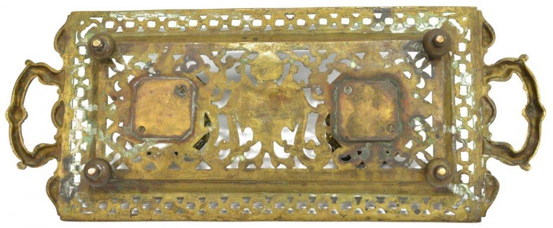 (2) ORNATE GILT BRASS DOUBLE INKSTAND & BLOTTER - 4