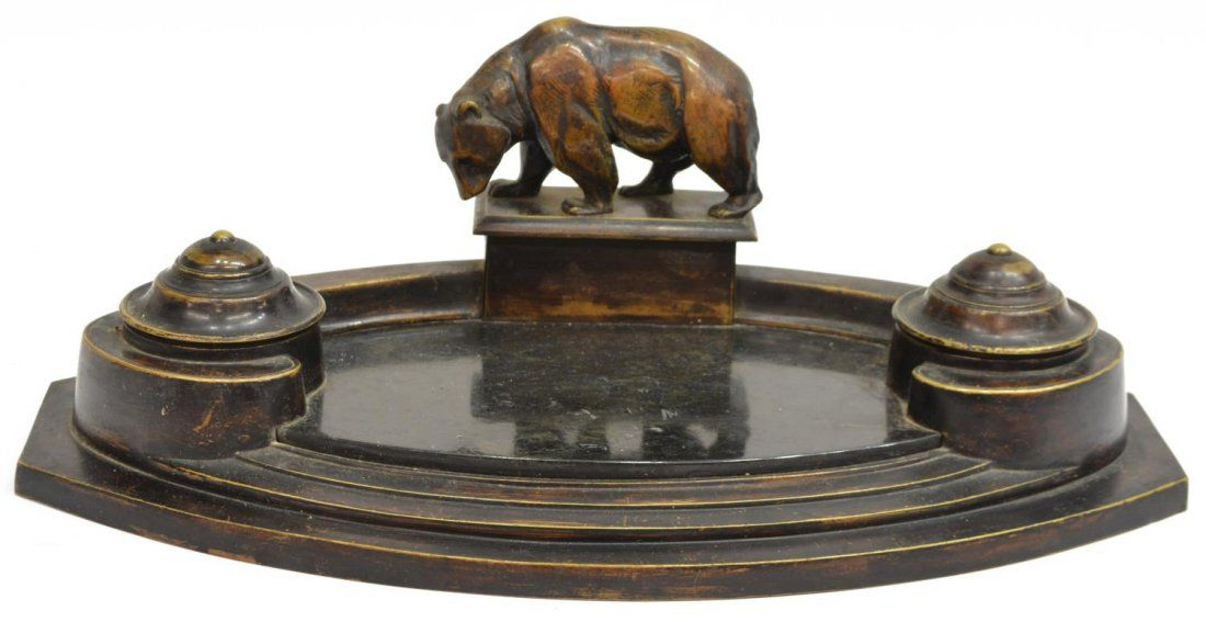 PATINATED BRASS DOUBLE INKSTAND WITH GRIZZLY BEAR