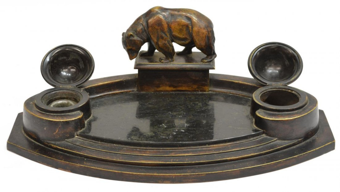 PATINATED BRASS DOUBLE INKSTAND WITH GRIZZLY BEAR - 2
