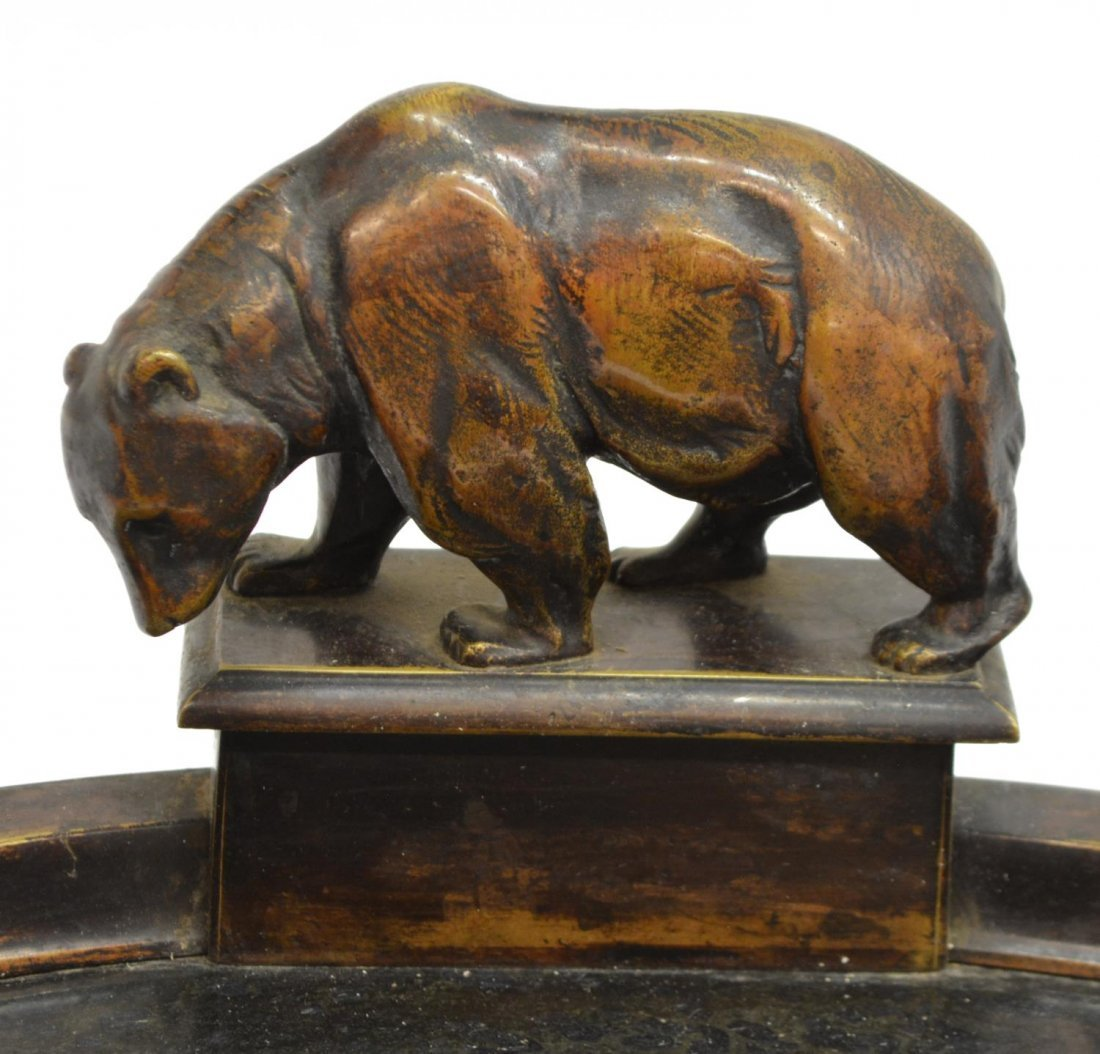 PATINATED BRASS DOUBLE INKSTAND WITH GRIZZLY BEAR - 3