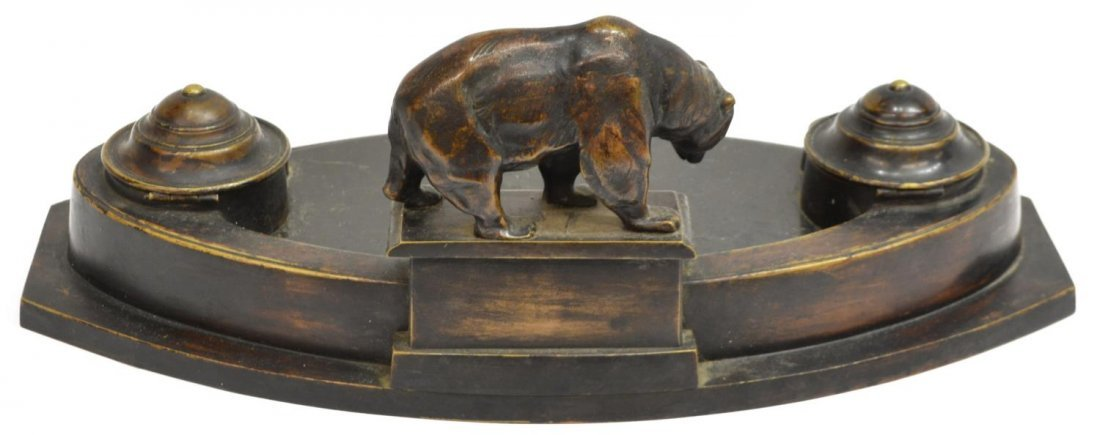 PATINATED BRASS DOUBLE INKSTAND WITH GRIZZLY BEAR - 4