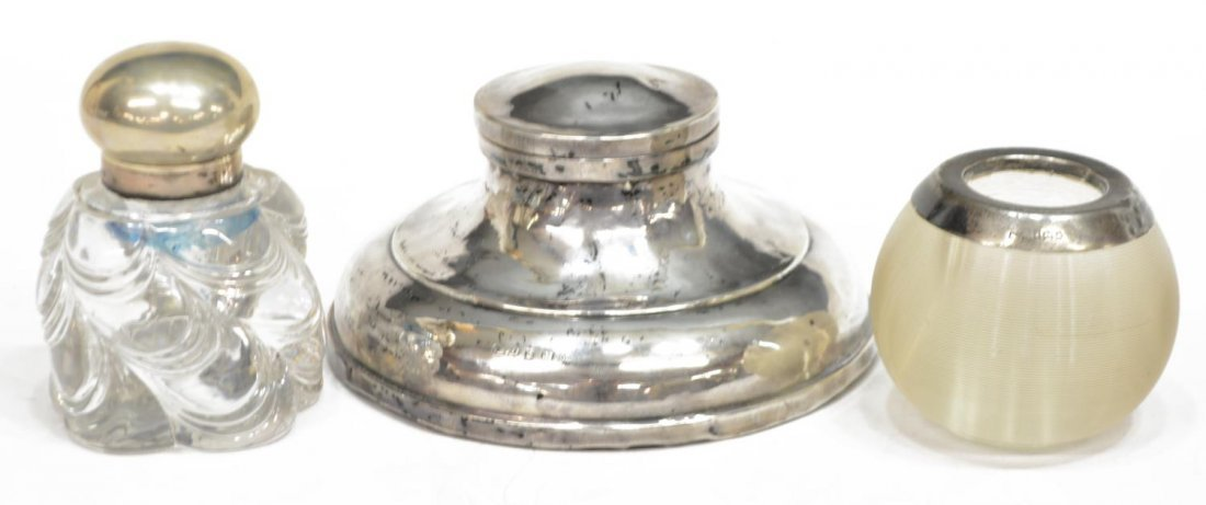 (3) STERLING AND GLASS INKWELLS & MATCH STRIKER