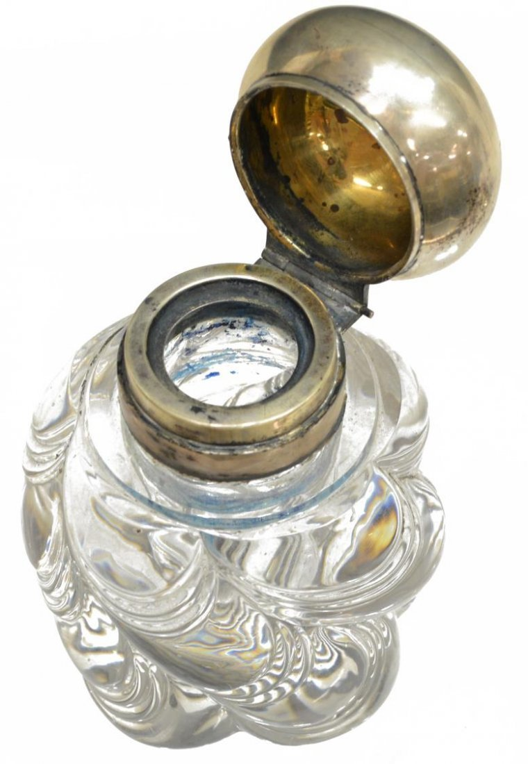 (3) STERLING AND GLASS INKWELLS & MATCH STRIKER - 2