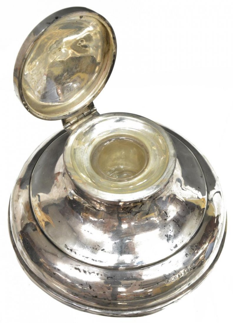 (3) STERLING AND GLASS INKWELLS & MATCH STRIKER - 3