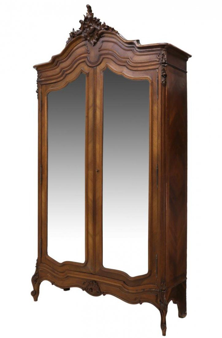 LOUIS XV STYLE CARVED & MIRRORED ARMOIRE, 19TH C