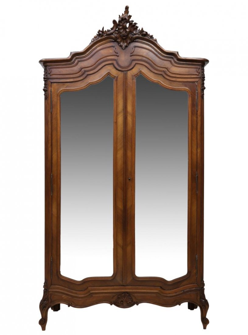 LOUIS XV STYLE CARVED & MIRRORED ARMOIRE, 19TH C - 2
