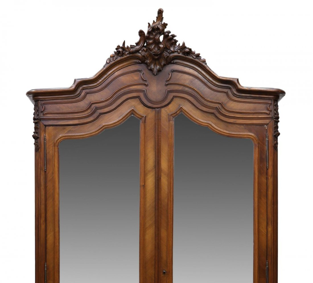 LOUIS XV STYLE CARVED & MIRRORED ARMOIRE, 19TH C - 3