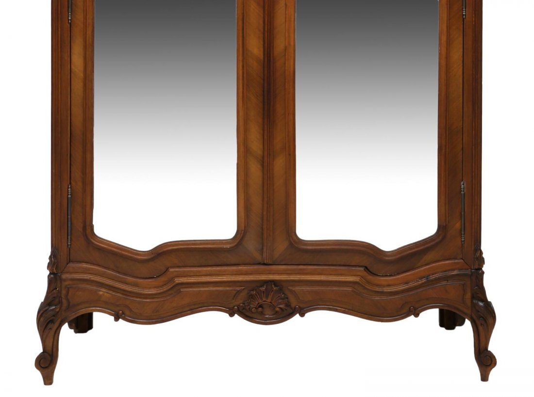LOUIS XV STYLE CARVED & MIRRORED ARMOIRE, 19TH C - 4