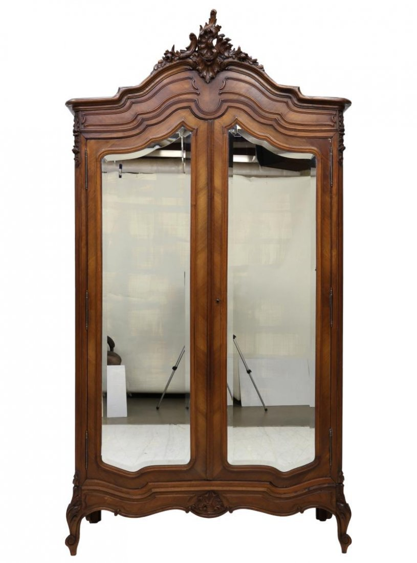 LOUIS XV STYLE CARVED & MIRRORED ARMOIRE, 19TH C - 5
