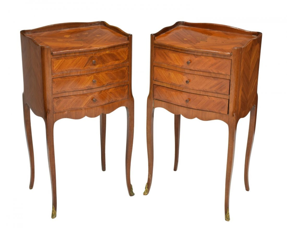 (2) FRENCH ROSEWOOD MARQUETRY BEDSIDE CABINETS
