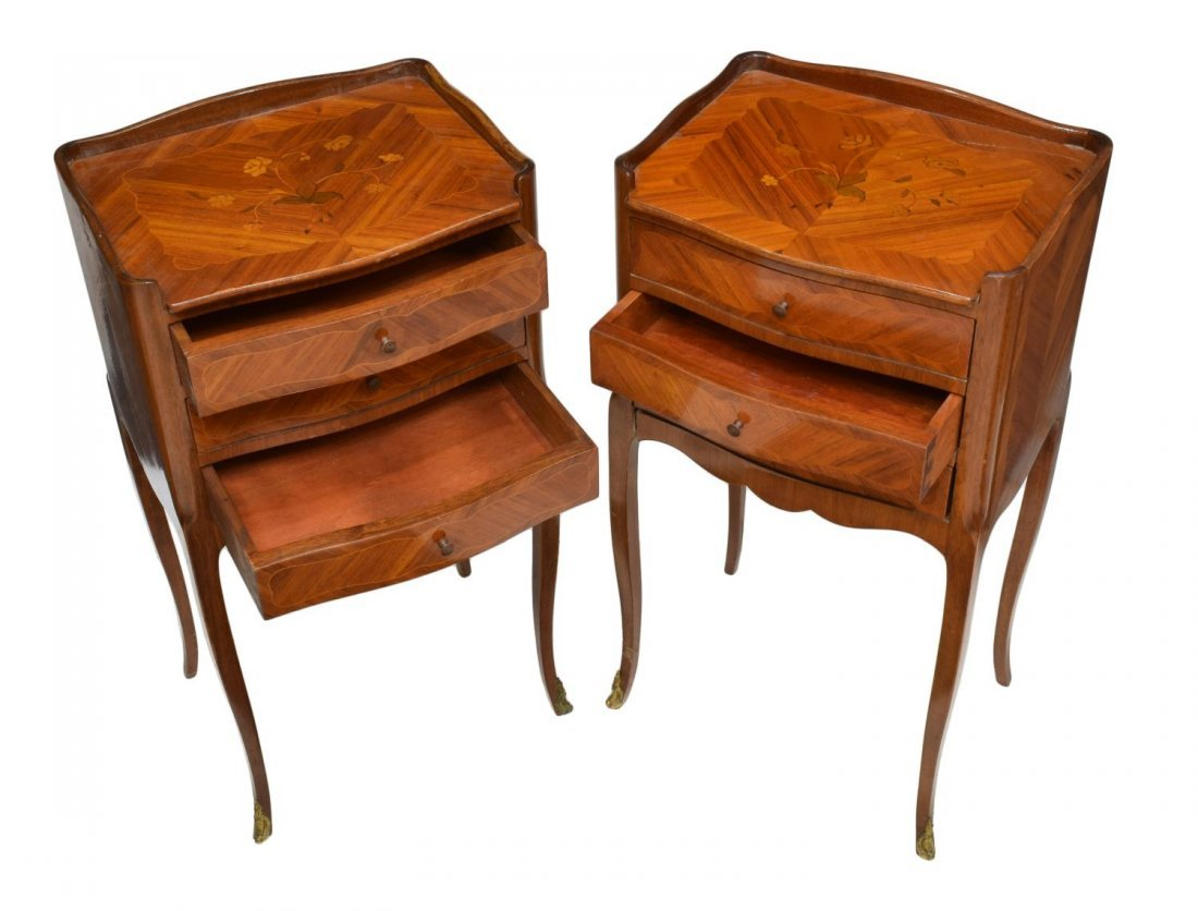 (2) FRENCH ROSEWOOD MARQUETRY BEDSIDE CABINETS - 2