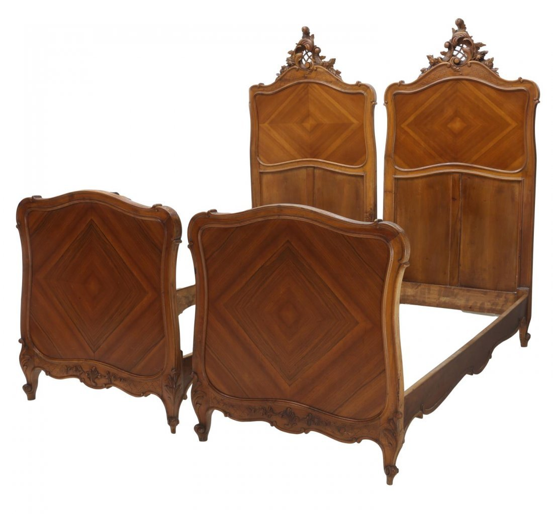 (2) FRENCH LOUIS XV STYLE CARVED SINGLE BEDS 19THC