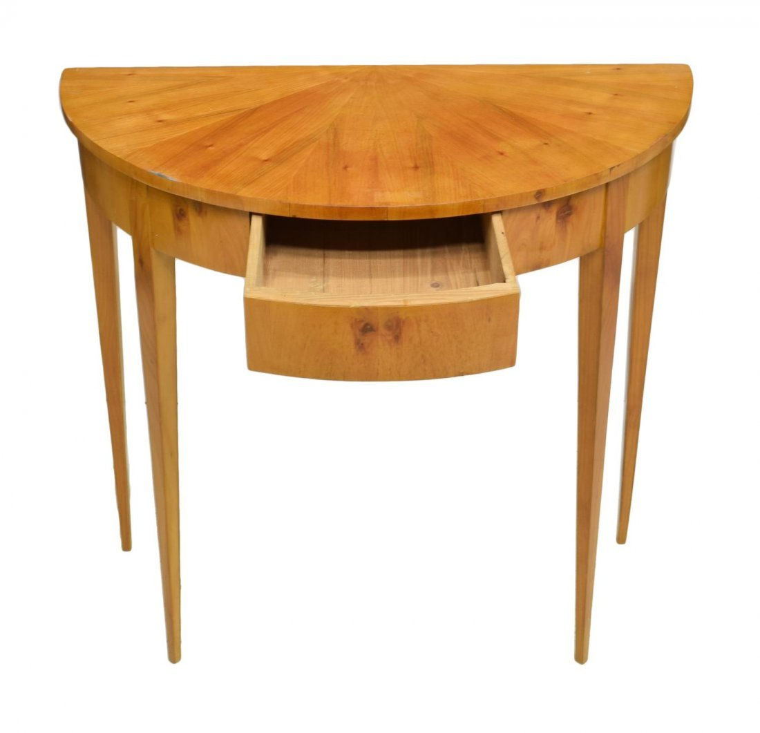 DANISH BIEDERMEIER DEMILUNE CONSOLE TABLE - 3