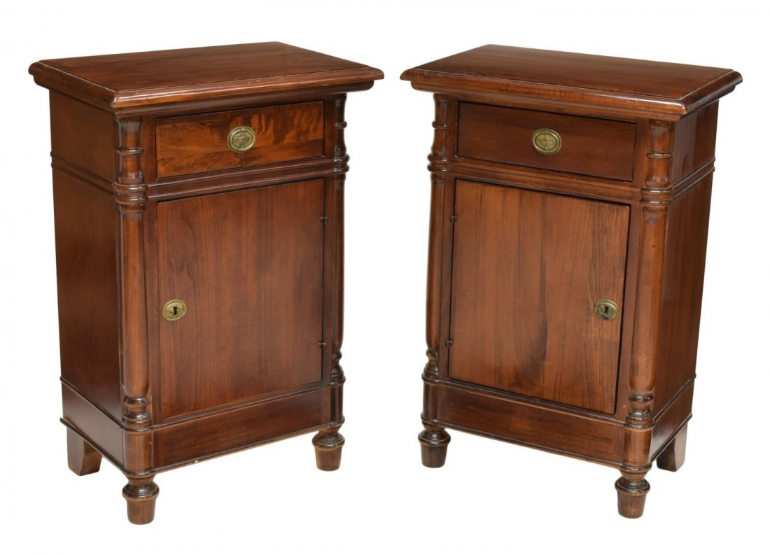 (PAIR) FRENCH MAHOGANY FINISH BEDSIDE CABINETS