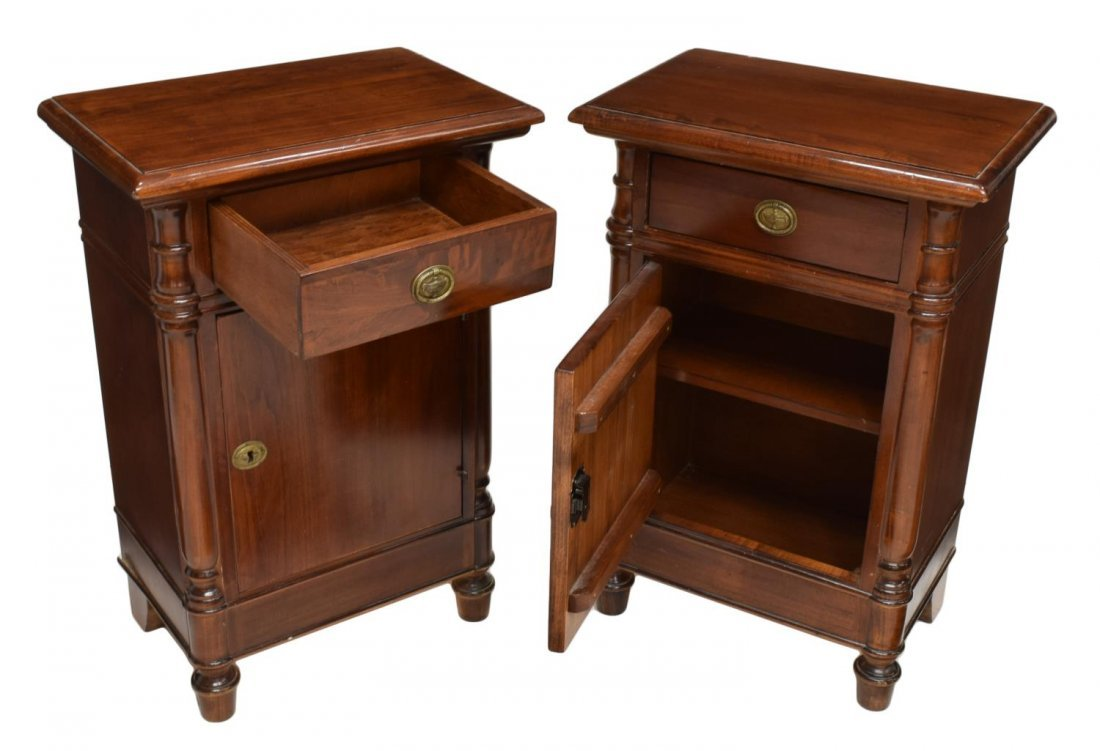 (PAIR) FRENCH MAHOGANY FINISH BEDSIDE CABINETS - 2