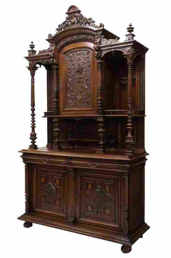LARGE CARVED ANTIQUE FRENCH CUPBOARD