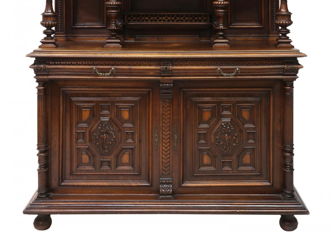 LARGE CARVED ANTIQUE FRENCH CUPBOARD - 4